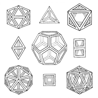Hand drawn polyhedrons collection