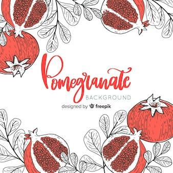 Hand drawn pomegranate background