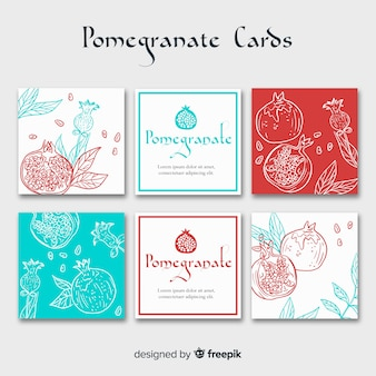 Hand drawn pomegranate card collection