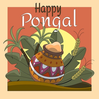 Hand drawn pongal event illustration