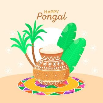 Hand drawn pongal festival