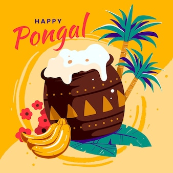 Hand drawn pongal festival