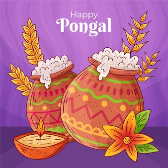 Hand drawn pongal with greeting