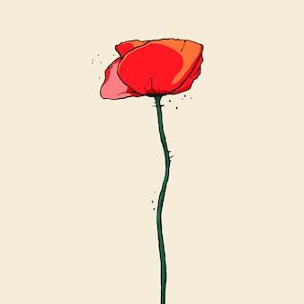 アウトラインと手描きのケシの花。