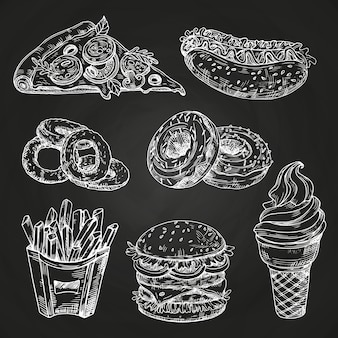 Hand drawn popular fast food on blackboard style