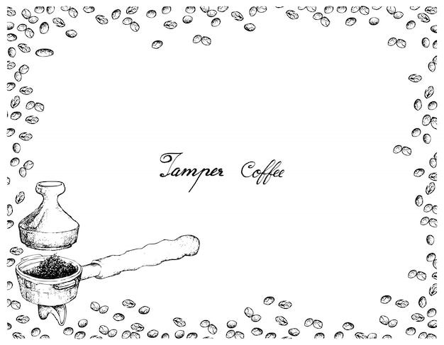 Hand drawn of portafilter with tamper for coffee machine
