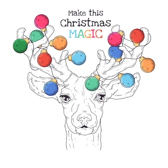 Hand drawn portrait of animal in christmas accessories vector.