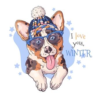 Hand drawn portrait of corgi dog in christmas accessories.