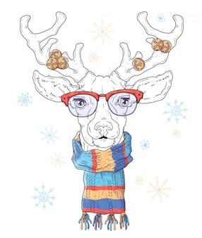 Hand drawn portrait of deer in christmas accessories vector.