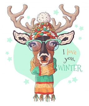 Hand drawn portrait of deer in christmas accessories.