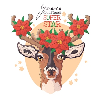 Hand drawn portrait of deer with christmas flowers vector.