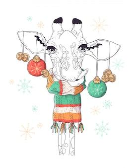 Hand drawn portrait of giraffe in christmas