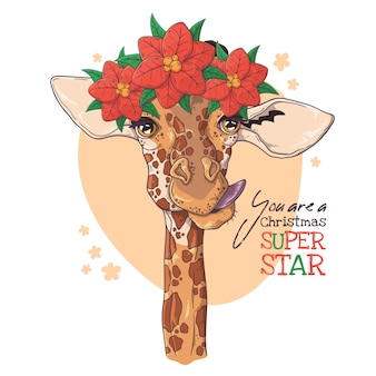 Hand drawn portrait of giraffe with christmas flowers vector.