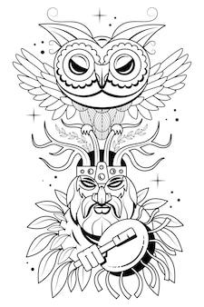 Ручной обращается портрет человека с перьями и этническими символами. вектор рисованной битник иллюстрации, изолированные на белом фоне. дизайн бохо, футболки печать, искусство татуировки