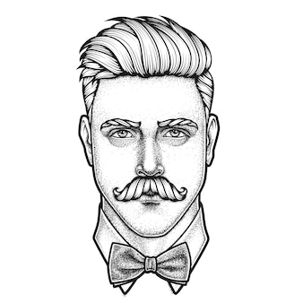 Hand drawn portrait of moustached man full face