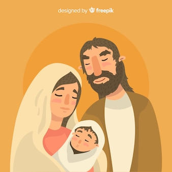 Hand drawn portrait nativity background