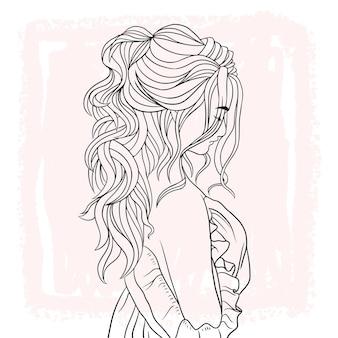 아름다운 헤어스타일을 한 아름다운 여성의 손으로 그린 초상화