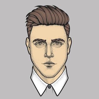 男のフルフェイスの手描き肖像