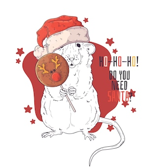 Hand drawn portrait of rat in christmas accessories vector.