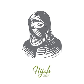 Hand drawn portrait of young muslim woman in hijab concept sketch