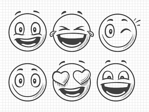 Hand drawn positive emojis, smile  sketch
