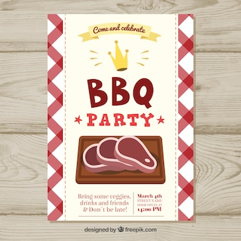 Hand drawn poster for a bbq party