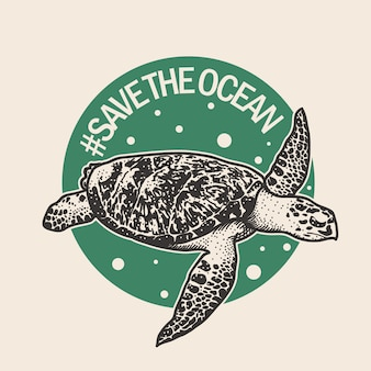 Hand drawn poster of sea turtle