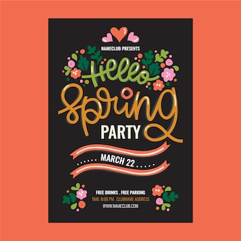 Hand drawn poster for spring party