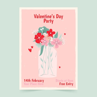 Hand drawn poster for valentine's day party template