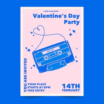 Hand drawn poster for valentine's day party