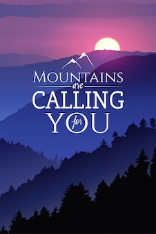 Рисованный плакат дикой природы. зимний закат в лесу. с лозунгом горы зовут тебя