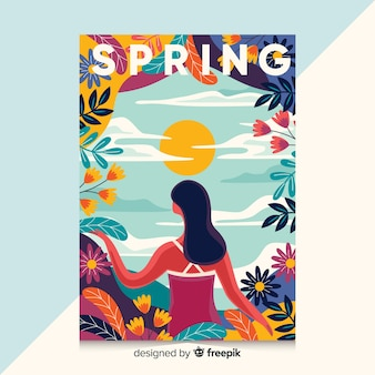 Hand drawn poster with spring illustration