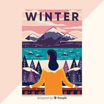 Hand drawn poster with winter illustration