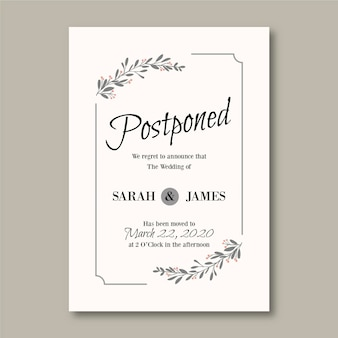 Hand drawn postponed wedding card template