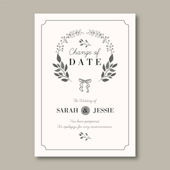 Hand drawn postponed wedding card