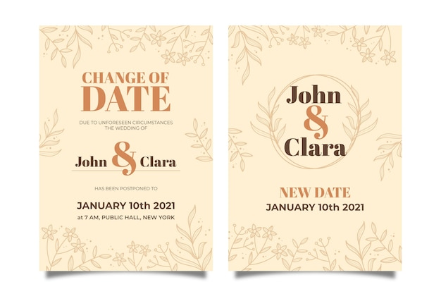 Hand drawn postponed wedding card Free Vector