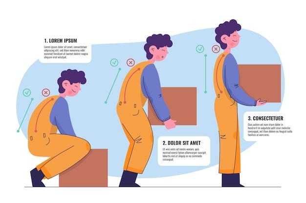 Infographics di correzione postura disegnato a mano