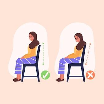 Infografica di correzione della postura disegnata a mano
