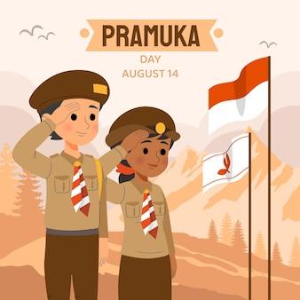 Hand drawn pramuka day illustration