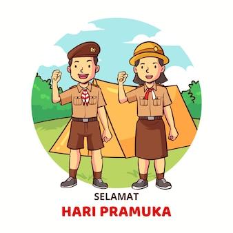 Illustrazione disegnata a mano del giorno di pramuka