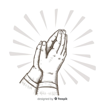 Hand drawn praying hands background