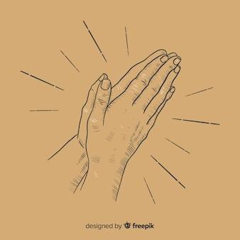 Hand drawn praying hands background