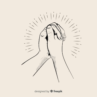 Hand drawn praying hands illustration