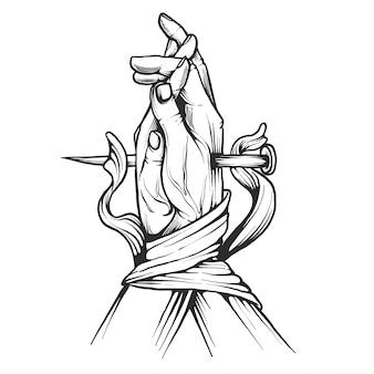 Hand drawn praying hands ribbon illustration