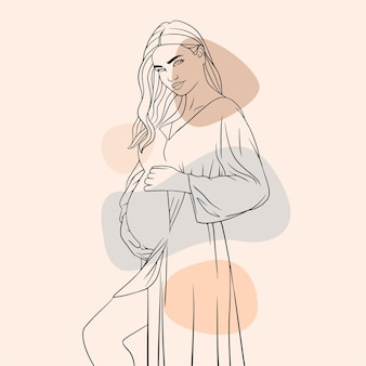 Hand drawn pregnant mother for mothers day line art style g