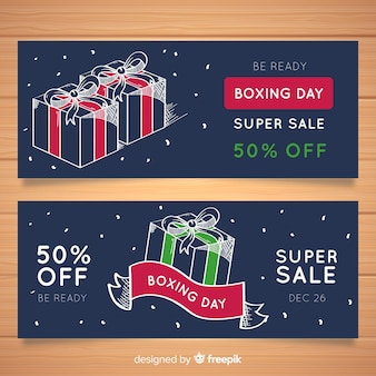 Hand drawn presents boxing day banner