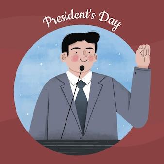 手を振っている手描きの大統領の日の候補者