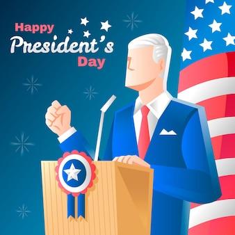 手描きの大統領の日のコンセプト