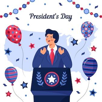 手描きの大統領の日のイラスト