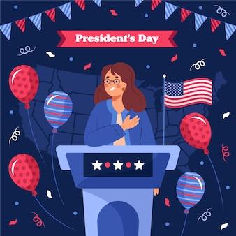Нарисованная рукой иллюстрация дня президента